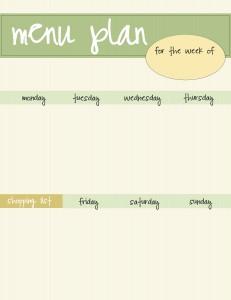 free menu planner printable - green