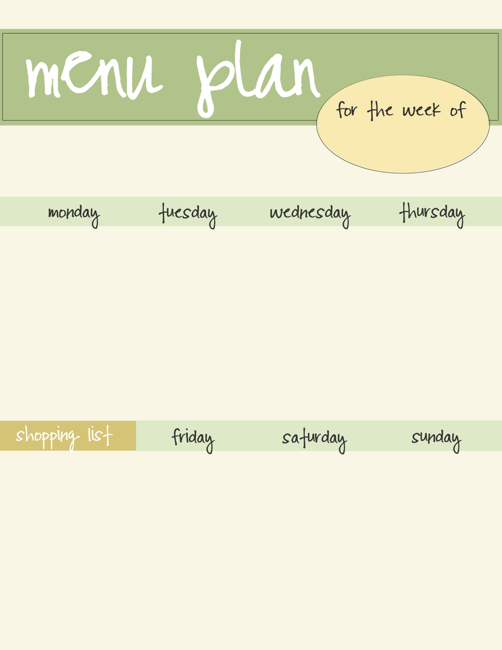 Meal planning template free download live craft eat for Free printable menu templates