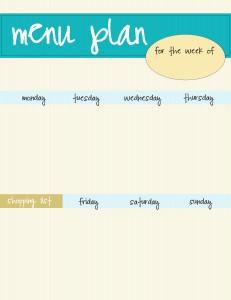 free blue menu plan printable