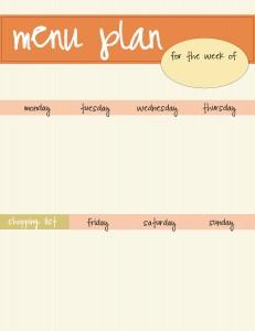 orange menu plan printable
