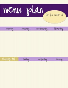free purple menu plan template