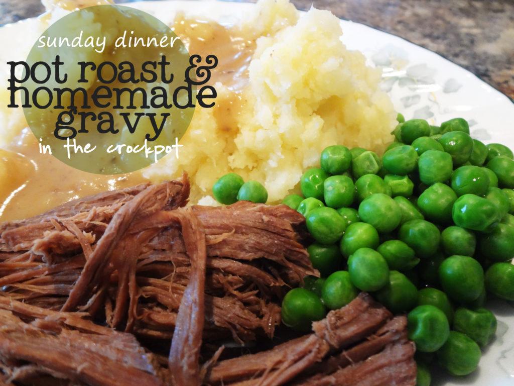 pot roast, mashed potatoes, and peas
