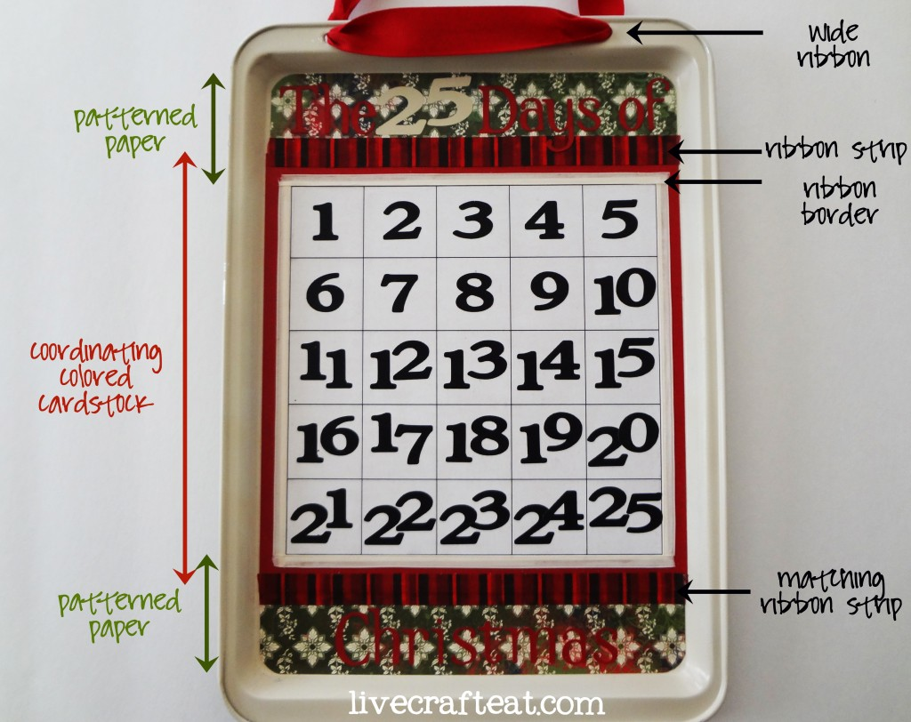 How to make a cookie sheet christmas countdown live for Make your own christmas countdown calendar
