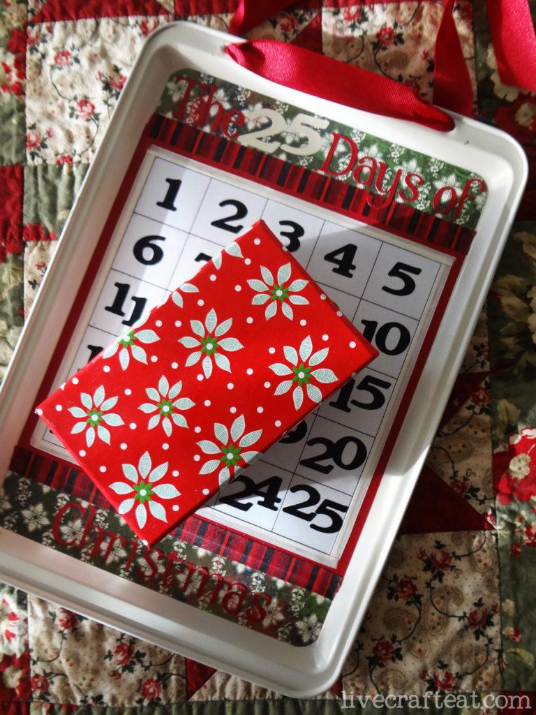 cookie sheet and box countdown calendar