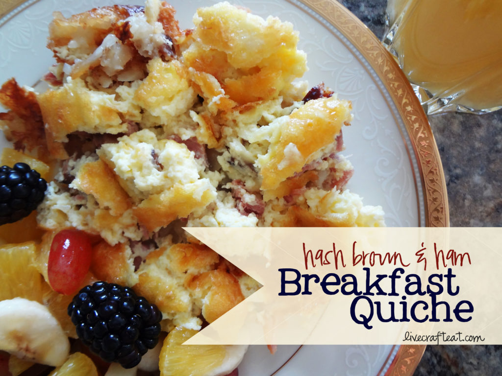here's a recipe for an awesome hash brown & ham breakfast quiche ...
