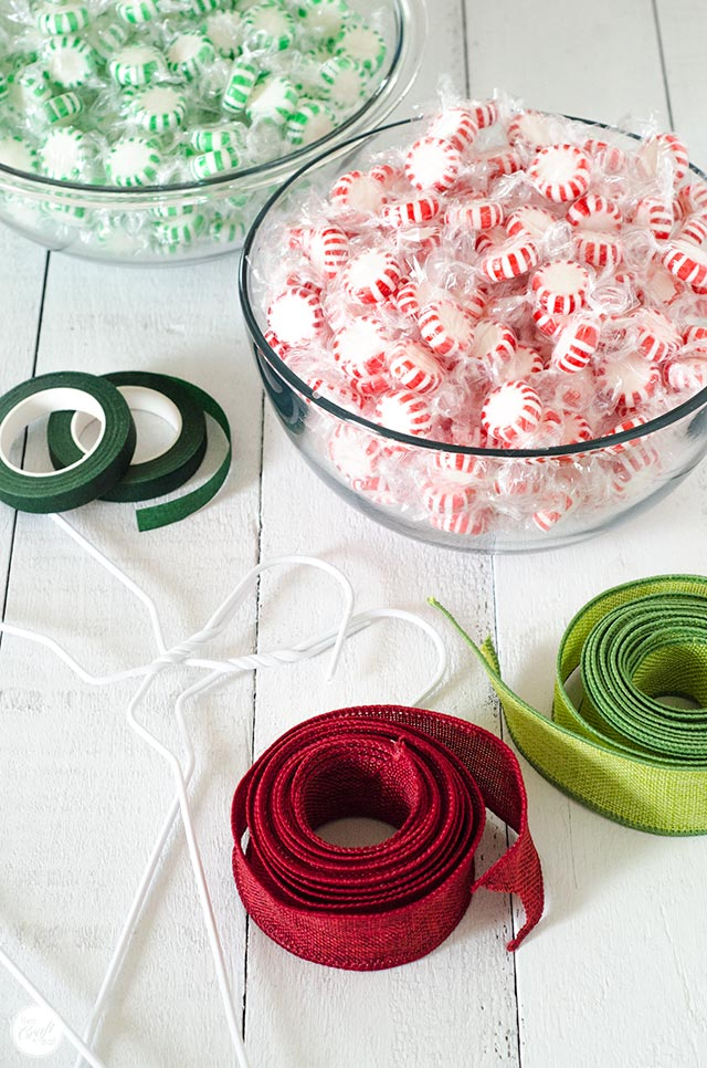 starlight peppermint or spearmint candies, floral tape, wire hangers, and ribbon