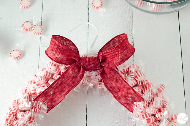 big bow on a candy wreath