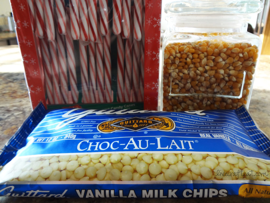 candy canes, white vanilla chocolate, popcorn kernels