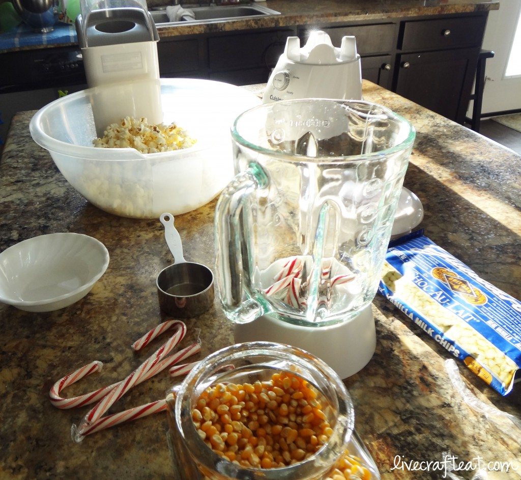 popped popcorn, candy cane bits, white chocolate chips