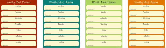 weekly menu planner in different colors