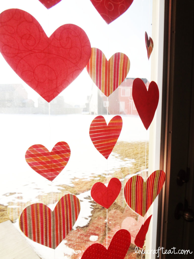 hanging hearts window decoration