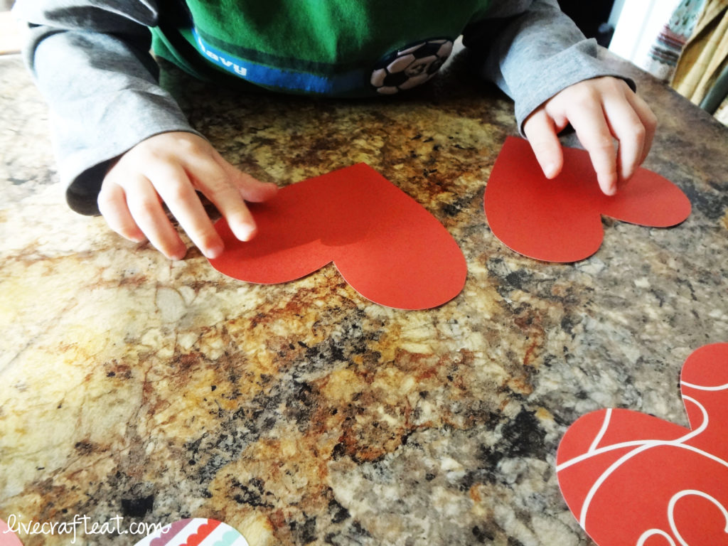 matching paper hearts for kids on valentine's day