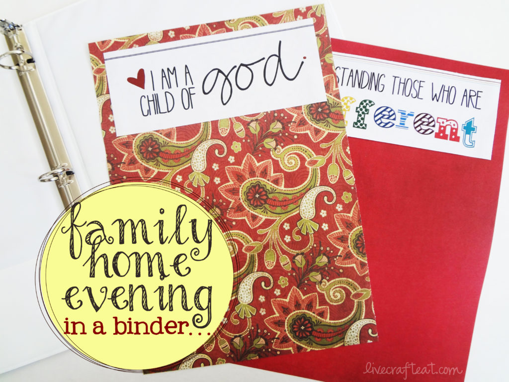 organizing family home evening kits