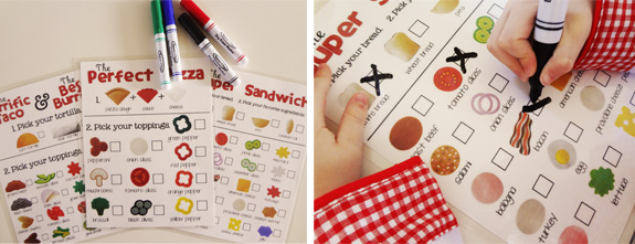 how to use play food and (free) printable menus to help your child learn about eating healthy food.