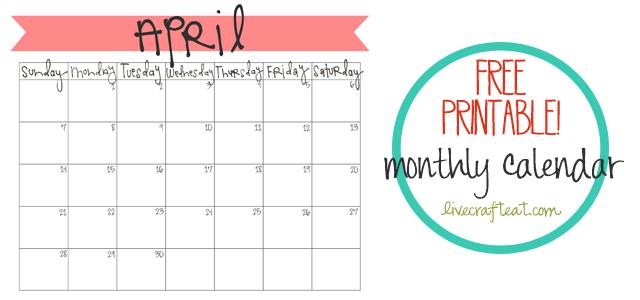April 2013 Calendar - Printable | Live Craft Eat