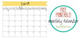 free printable calendar :: june 2013