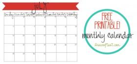 free printable calendar :: july 2013