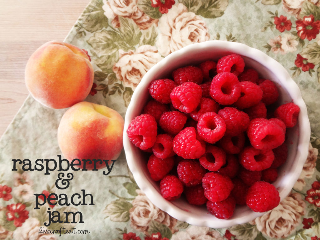 raspberry peach freezer jam