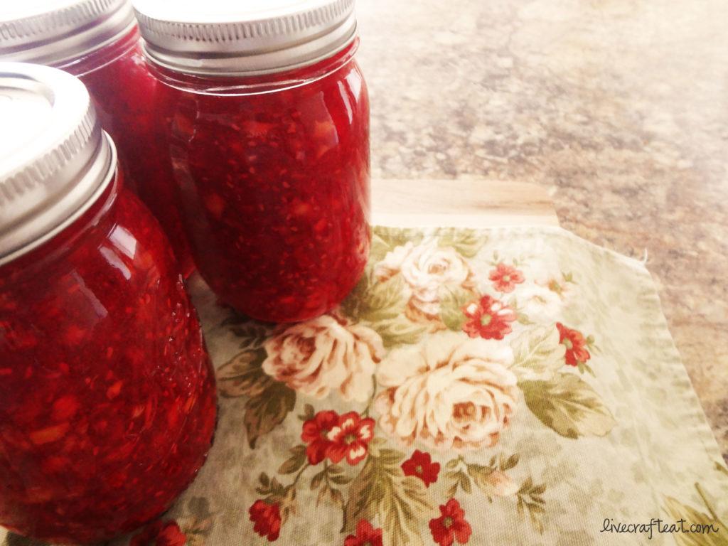 raspberry & peach freezer jam
