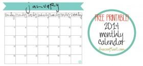 free printable calendar :: january 2014