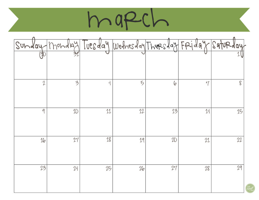 Calendar March 2014 : March calendar free printable live craft eat