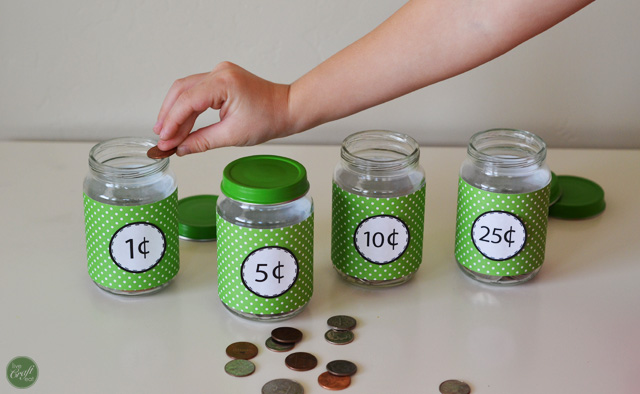 """money-sorting activity - part of """"3 activities to help teach your kids about financial responsibility."""