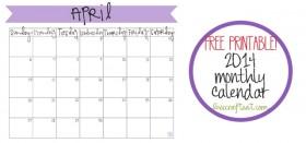 free printable calendar :: april 2014