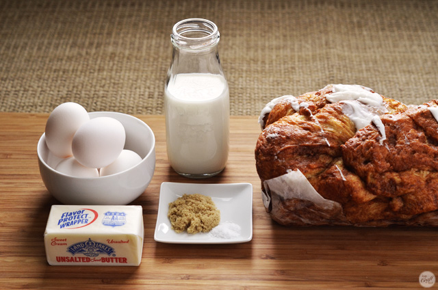 ingredients for the simplest, most delicious french toast trifle recipe