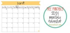 free printable calendar :: june 2014