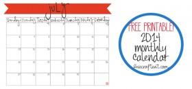 free printable calendar :: july 2014