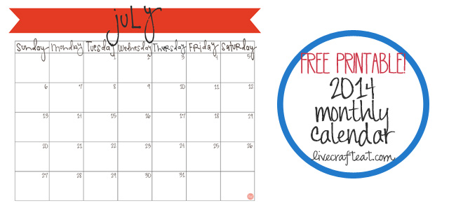 free monthly calendar :: july 2014