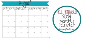 free printable calendar :: august 2014
