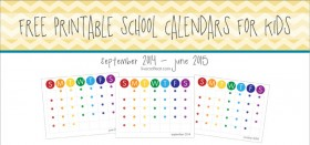 2014-2015 school calendar for kids :: freebie!