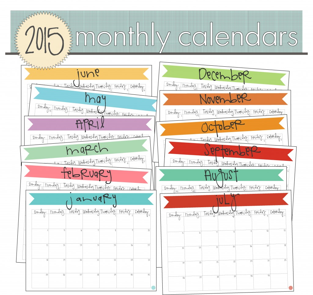 Free Printable 2015 Monthly Calendars | Beautiful Scenery Photography