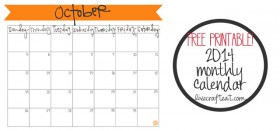 free printable calendar :: october 2014