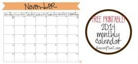 free printable calendar :: november 2014