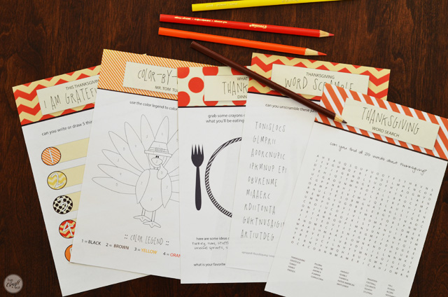 free thanksgiving printables for kids :: great for their thanksgiving dinner place setting!