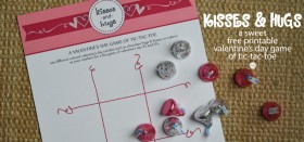 kisses & hugs :: free printable valentine's day game of tic-tac-toe
