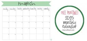 free printable calendar :: march 2015