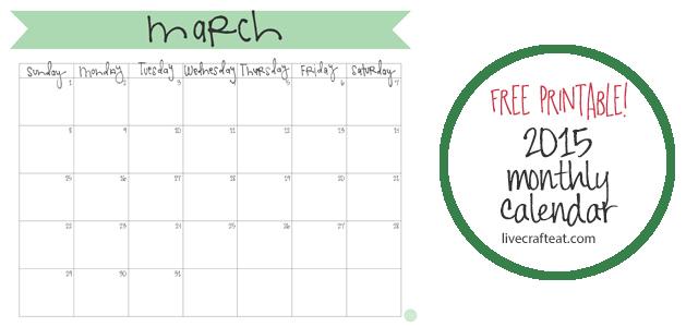 Calendar Craft 2015 : March calendar free printable live craft eat
