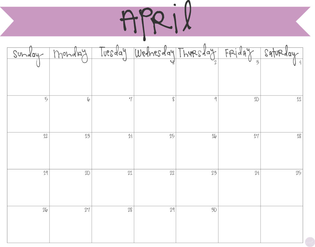 Blank Calendar You Can Type Into : April calendar free printable live craft eat