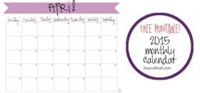free printable calendar :: april 2015