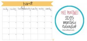 free printable calendar :: june 2015