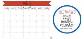 free printable calendar :: july 2015