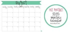 free printable calendar :: august 2015