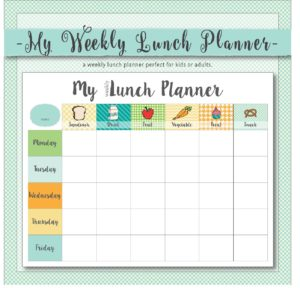 weekly lunch planner for kids, available on etsy, is great for getting kids to plan and eat a healthy lunch.