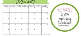 free printable calendar :: december 2015