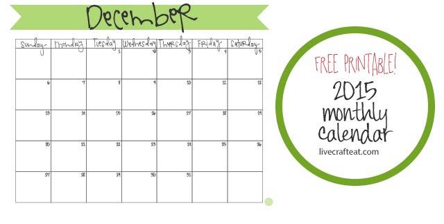 Calendar Craft 2015 : December calendar free printable live craft eat