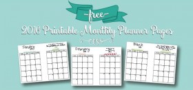 free 2016 printables :: monthly calendar planner pages