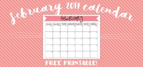 free printable monthly calendar :: february 2017